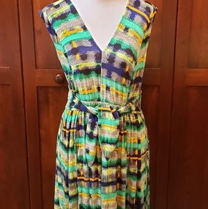 Sleeveless Green striped dress by Tracy Reese, s-M